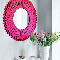 DIY Funky Sunburst Mirror Of Plastic Spoons | Shelterness