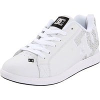 DC Women`s Court Graffik Unilite Sneaker,Black/Metallic Silver/White,5 M US
