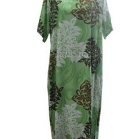 Round Neck Long Dress Artistic Hawaiian Caftan Kaftan Style Hawaiian Aloha Evening Pullover Dress Plus Size
