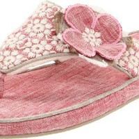 ACORN Women`s Grace Thong Slipper,Rose Linen,9 M US