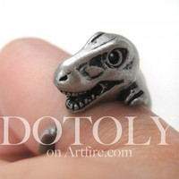 3D T-Rex Dinosaur Animal Ring in Silver - Sizes 5 to 9 Available