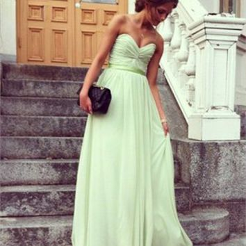 Strapless V-neck A-line with Sash and Ruched Bodice Long Chiffon Prom Dress PD1931