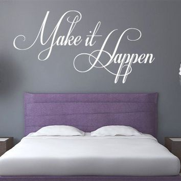 Quote wall decal - Make It Happen wall decal - Wall Decals , Home WallArt Decals