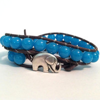 Elephant Leather Wrap Bracelet, Good Luck Charm, Aqua Blue Jade Wrap Bracelet, Chan Luu Style, Elephant Button