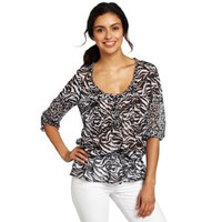 Jones New York Women`s Printed Pin Tucked Blouse