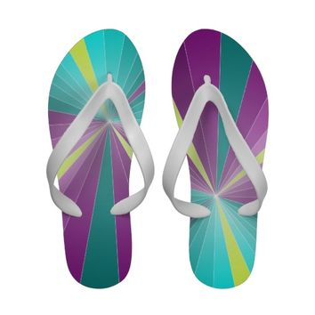 Abstract rays colorful geometric design Flip flops