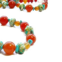 Carnelian Necklace, Mixed Gemstones, Turquoise, Green, Colorful, Tropical