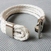 Cool White  Leather and stainless steel Buckle Bracelets/Couple Bracelet 386S
