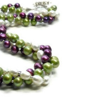 Multistrand Twisted Pearl Necklace, Purple, Chartreuse, White,Triple Strand, Fall, Spring, Summer