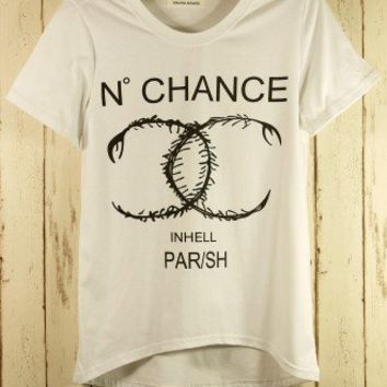 Double Chance Asymmetric T-shirt in White - T-Shirt - Tops - Retro, Indie and Unique Fashion