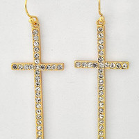 Rhinestone Cross Earrings Gold