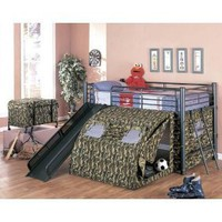 Coaster Kid`s GI Child Bunk Bed with Slide and Tent, Twin Size