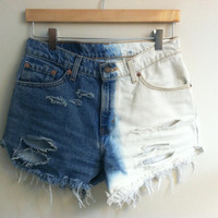 dip dyed &amp; distressed high-waisted cutoffs