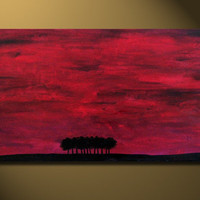 ORIGINAL AMAZING Abstract Fine Art Black Red Forest Tree Modern Acrylic on canvas Painting by Orit 32x16 gallery wrapped Size Customization