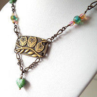 Antique Brass Owl Trio Pendant Green Czech Glass Necklace