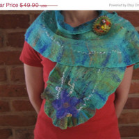 SALE Green Turquoise Teal Violet Nuno Felt Scarf Shawl Wrap with Brooch: Wool, Vintage Silk. Splendid, Light and Bright. Flower Decoration.