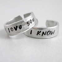Star Wars I Love You I Know - Set of TWO Rings- Hand Stamped and Hammered Aluminum Ring - Customizable with Names