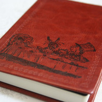Alice in Wonderland Altered Journal/Notebook/Diary (Tea Party)  - Deep Brown Leather Appearance