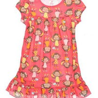 Carters Girls 2T-4T Monkey Pajama Gown