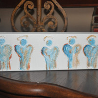 Acrylic Painting on Canvas - 12x4 Original Angel Painting