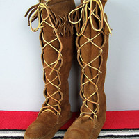 Vintage MINNETONKA Suede Leather Hippie FRINGE Knee High Moccasin Boots size 6