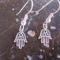 Tiny Silver Hamsa Earrings
