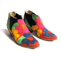 Vintage ZALO colorful suede flower COLOR BLOCK Ankle Boots