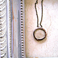 Rustic Glass Circle Minimalist Necklace