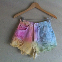 Tie-dyed High Waist Distressed Shorts Size 28