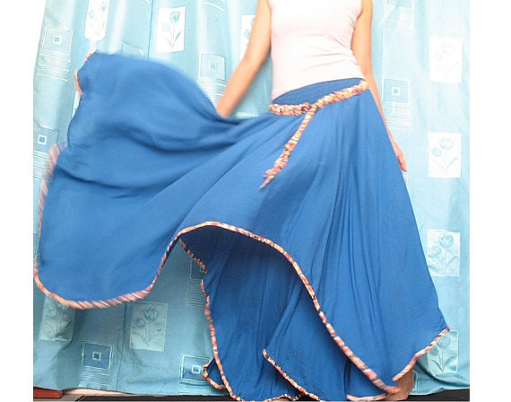 Blue Summer Cotton Maxi Skirt ...... Inspiration Flowing Circle Long Skirt / Party Bridesmaid Dress