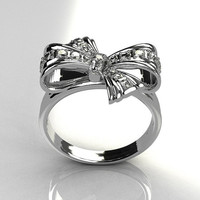 Tiffany Style 14 Karat White Gold Pave Diamond Ribbon Ring R92-14KWGD