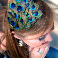 ELEANOR- Comfortable Peacock Feather Headband with 8 Peacock Eyes