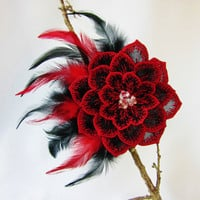 Red Black Feather Fascinator Wedding Head Piece Embroidered Organza Flower Swarovski Crystal Embellished Bridesmaid