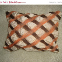 SALE Silk pillow cushion cover nuno felt wool decorative brown orange cream color