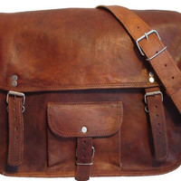 Leather Messenger Bag A4 13 inches/Inch Handmade Soft Leather Mens Unisex Ipad Satchel Shoulder Handbags/Bags Pouch/Case For him or her