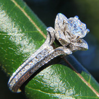 UNIQUE Flower  Lotus Rose Diamond Engagement or Right Hand Semi mount Ring Setting - 1.50 carats- 14k white, yellow or rose gold