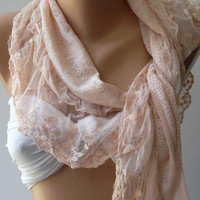 Salmon Pink - Elegance  Shawl / Scarf with Lacy Edge---