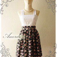 Amor Vintage Inspired Classy Shabby Chic Lace and Floral Vintage Dress in Black and Sweet Pink Rose -Size S-M- SALE