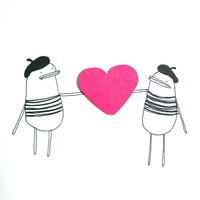 I Love You Greeting Card - Poosac French Twins with Pink Heart