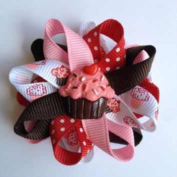 Red, Pink & Brown Cupcake Small Hair Bow Set - Handmade - 2.5 inch Cupcakes Hair Bow Set - Small Loopy Cupcake Hair Bows - Ready to Ship
