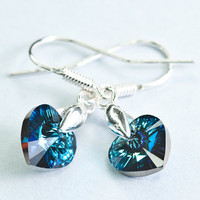 Crystal Heart Earrings Valentine Glamour Swarovski Crystal Earring Deep Ocean Sapphire Blue Winter Earrings Valentine Gift for Her