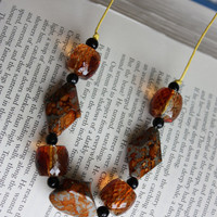 Rust, Gold and Black Beaded Cord Necklace