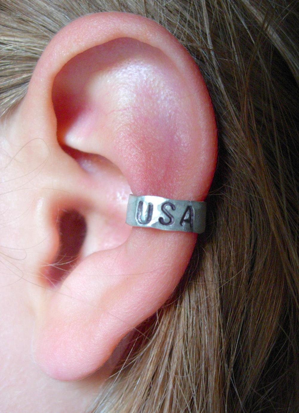USA Hand Hammered Aluminum Ear Cuff.. on Luulla