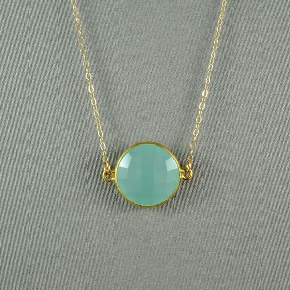 Aqua Blue Chalcedony Necklace, 24K Gold Vermeil Bezel, 14K Gold Fill Chain, Beautiful Stone Jewelry