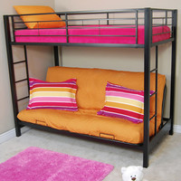 Walker Edison Furniture Co. BTOFBL Sunset Black Twin/Futon Bunk Bed