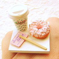 Kawaii Coffee Ring  Donut Miniature Food Jewelry