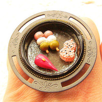 Traditional Japanese Food Ring Sushi Dango Onigiri Miniature Food Jewelry