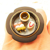 Japanese Food Ring Green Tea Dango Wagashi Miniature Food Jewelry