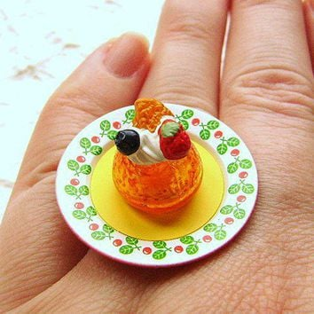 Kawaii Food Ring Orange Jelly  Ring With Whip Cream And Fruit