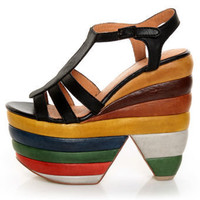 Zigi Girl Sundae Black Chunky Rainbow Platform Heels - $179.00